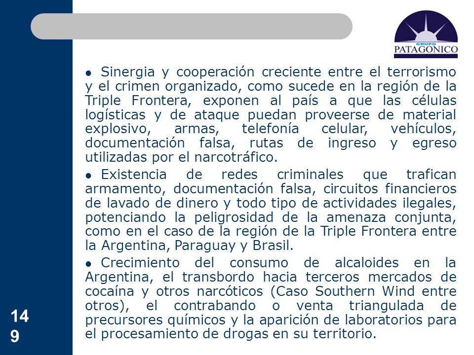 149 Sinergia y cooperación creciente entre el terrorismo y el crimen organizado, como sucede en la región de la Triple Frontera, exponen al país a que