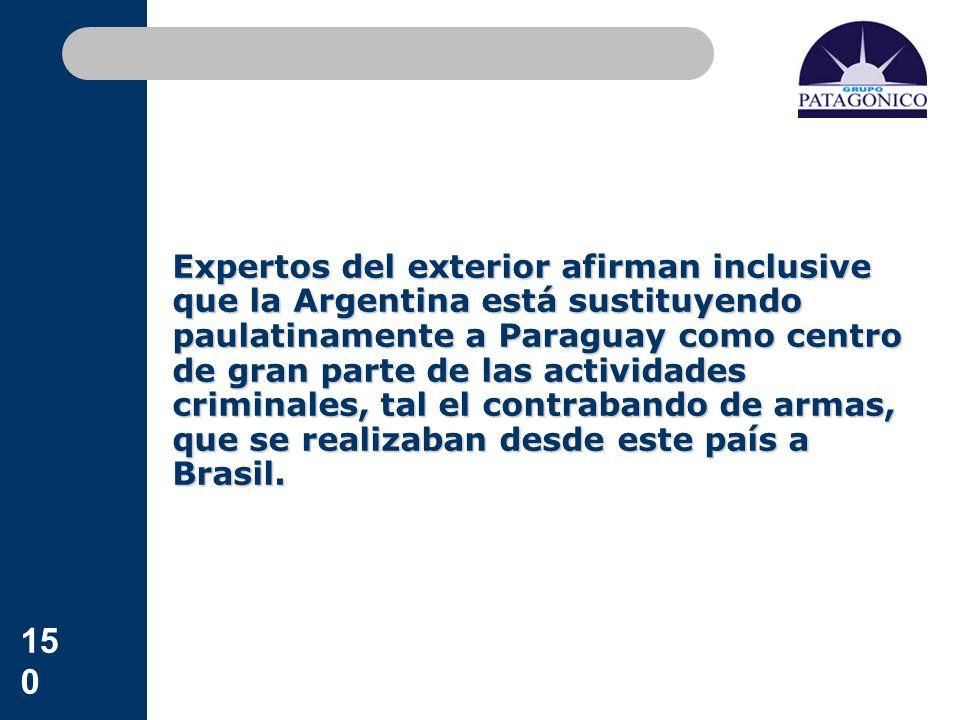 150 Expertos del exterior afirman inclusive que la Argentina está sustituyendo paulatinamente a Paraguay como centro de gran parte de las actividades