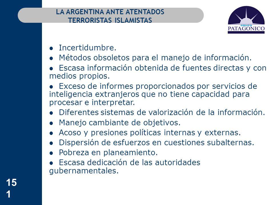151 LA ARGENTINA ANTE ATENTADOS TERRORISTAS ISLAMISTAS Incertidumbre. Métodos obsoletos para el manejo de información. Escasa información obtenida de