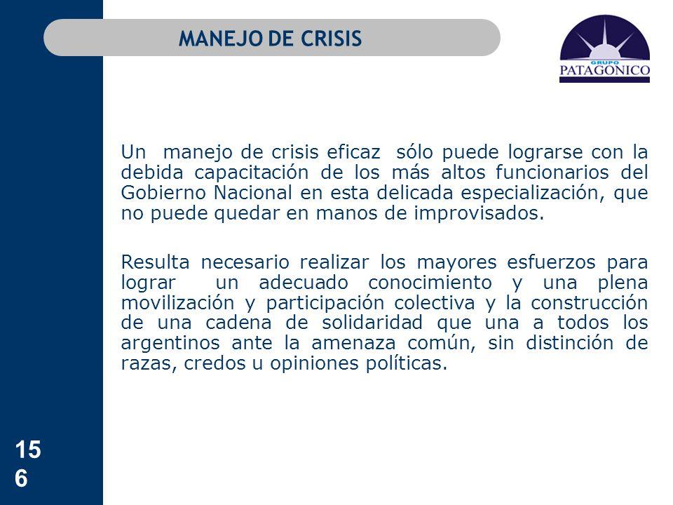 156 MANEJO DE CRISIS Un manejo de crisis eficaz sólo puede lograrse con la debida capacitación de los más altos funcionarios del Gobierno Nacional en