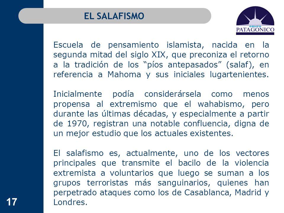 17 EL SALAFISMO Escuela de pensamiento islamista, nacida en la segunda mitad del siglo XIX, que preconiza el retorno a la tradición de los píos antepa