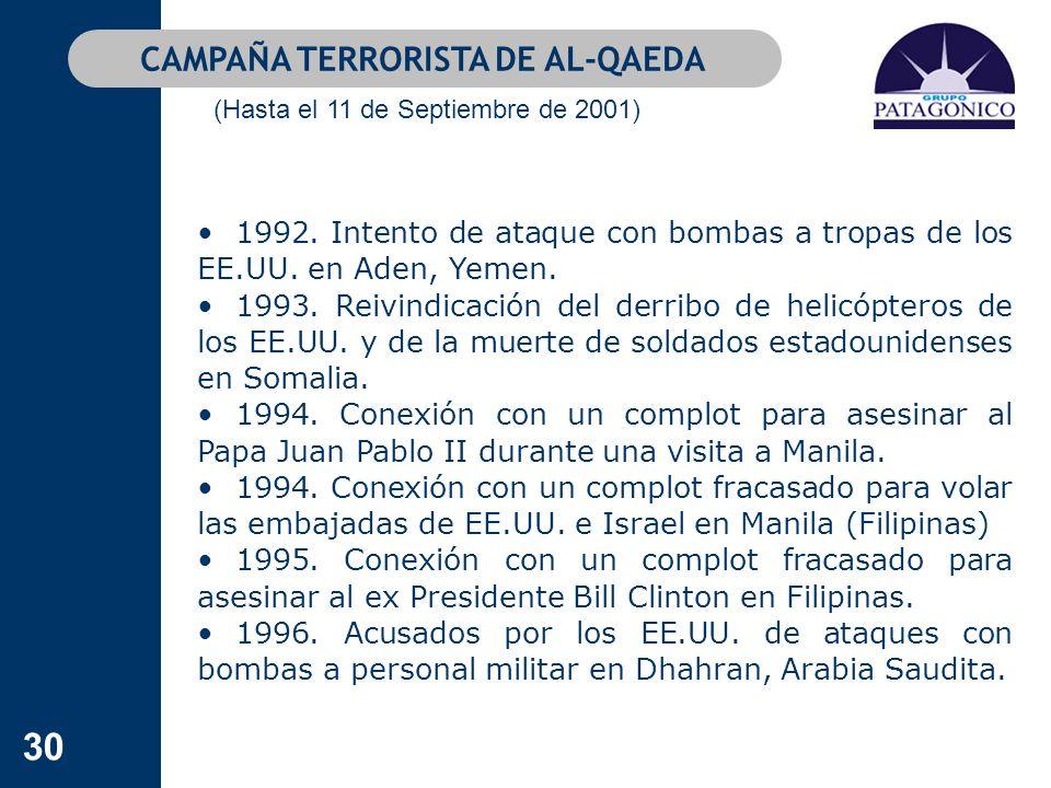 30 1992. Intento de ataque con bombas a tropas de los EE.UU. en Aden, Yemen. 1993. Reivindicación del derribo de helicópteros de los EE.UU. y de la mu