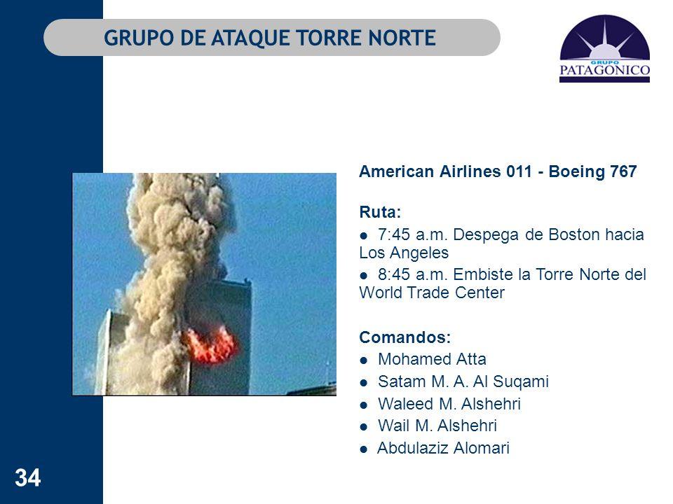 34 GRUPO DE ATAQUE TORRE NORTE American Airlines 011 - Boeing 767 Ruta: 7:45 a.m. Despega de Boston hacia Los Angeles 8:45 a.m. Embiste la Torre Norte