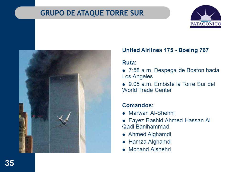 35 GRUPO DE ATAQUE TORRE SUR United Airlines 175 - Boeing 767 Ruta: 7:58 a.m. Despega de Boston hacia Los Angeles 9:05 a.m. Embiste la Torre Sur del W