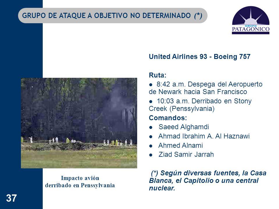 37 GRUPO DE ATAQUE A OBJETIVO NO DETERMINADO (*) United Airlines 93 - Boeing 757 Ruta: 8:42 a.m. Despega del Aeropuerto de Newark hacia San Francisco