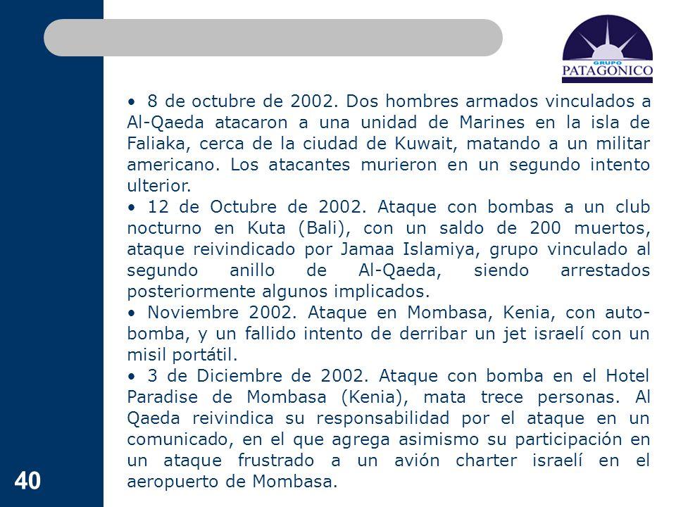 40 8 de octubre de 2002. Dos hombres armados vinculados a Al-Qaeda atacaron a una unidad de Marines en la isla de Faliaka, cerca de la ciudad de Kuwai