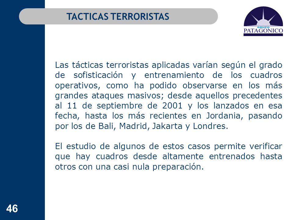 46 Las tácticas terroristas aplicadas varían según el grado de sofisticación y entrenamiento de los cuadros operativos, como ha podido observarse en l