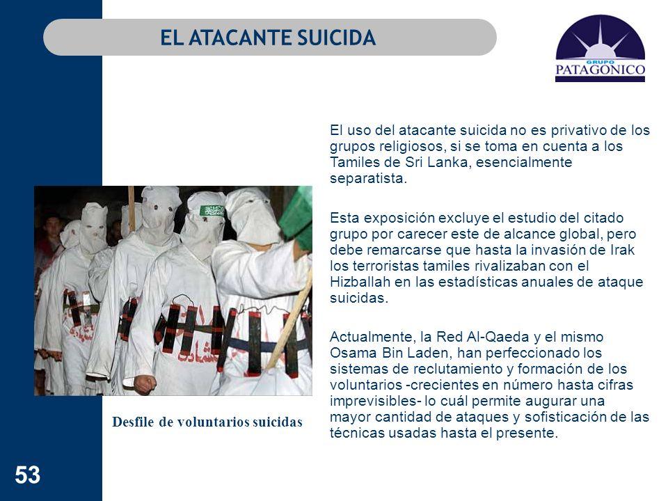 53 EL ATACANTE SUICIDA El uso del atacante suicida no es privativo de los grupos religiosos, si se toma en cuenta a los Tamiles de Sri Lanka, esencial