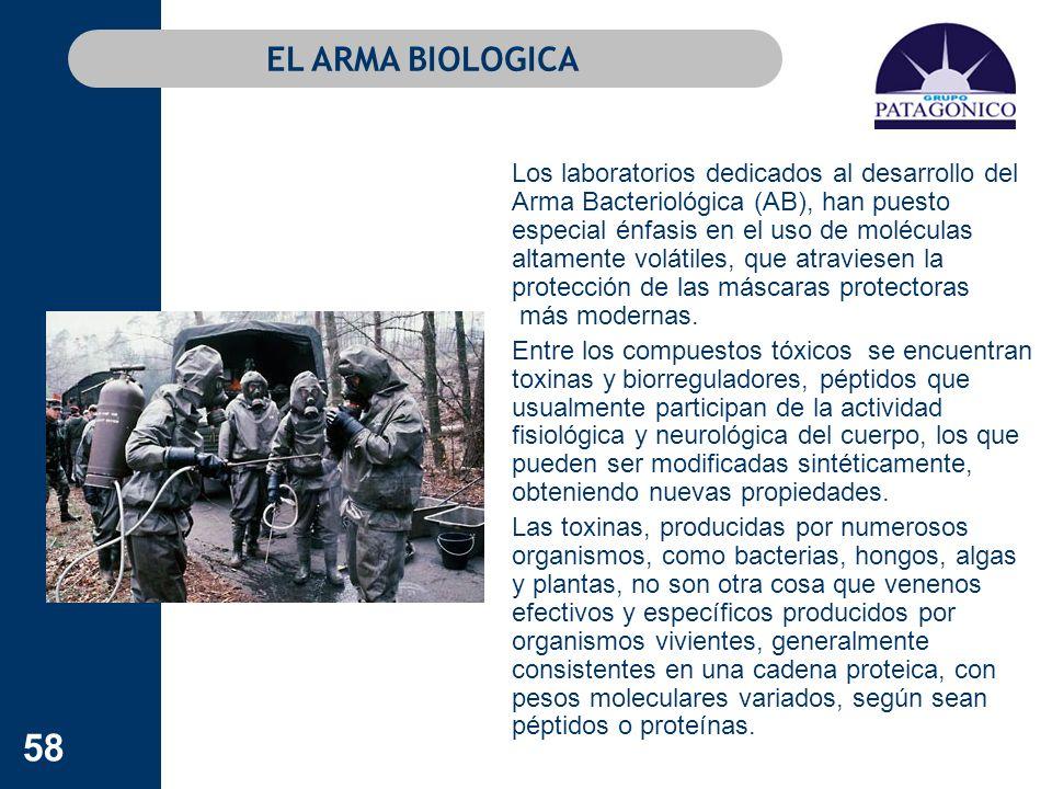58 EL ARMA BIOLOGICA Los laboratorios dedicados al desarrollo del Arma Bacteriológica (AB), han puesto especial énfasis en el uso de moléculas altamen