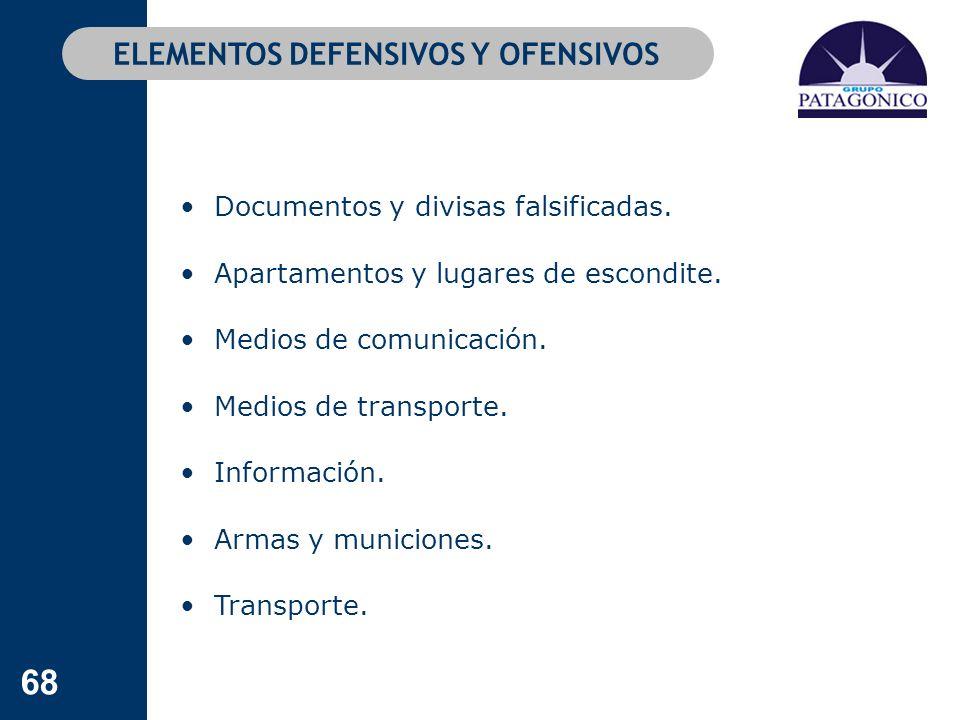 68 Documentos y divisas falsificadas. Apartamentos y lugares de escondite. Medios de comunicación. Medios de transporte. Información. Armas y municion