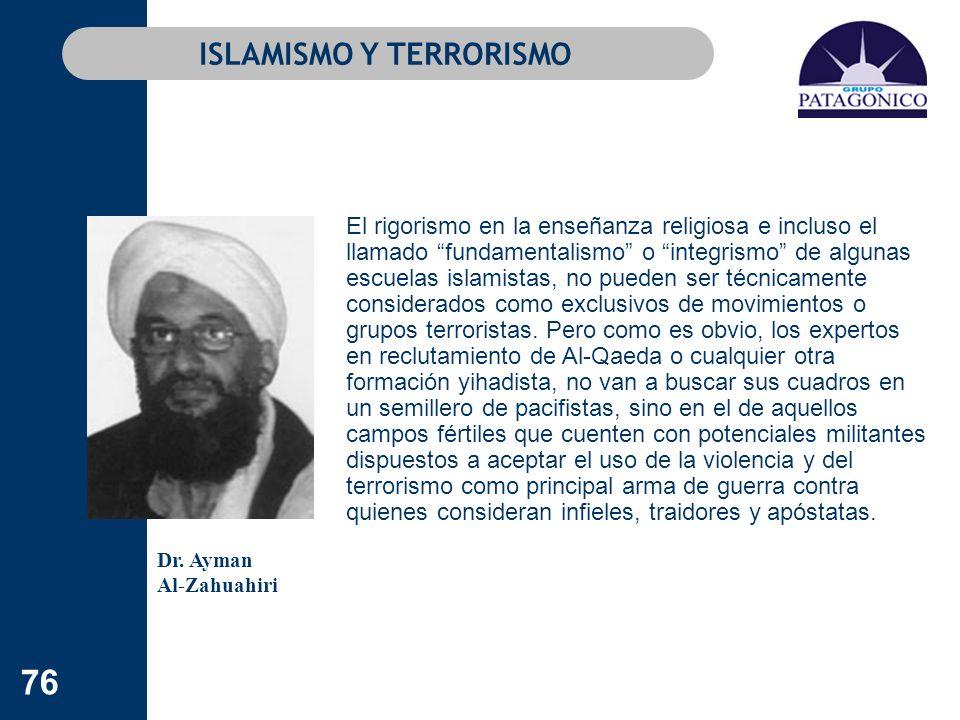 76 ISLAMISMO Y TERRORISMO El rigorismo en la enseñanza religiosa e incluso el llamado fundamentalismo o integrismo de algunas escuelas islamistas, no