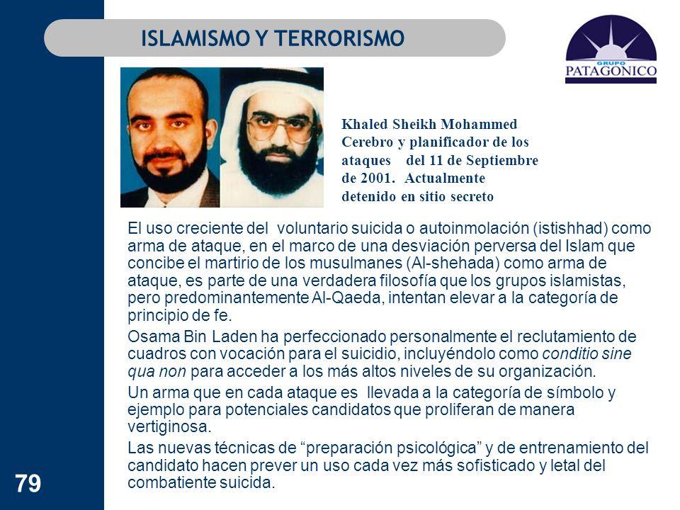 79 ISLAMISMO Y TERRORISMO El uso creciente del voluntario suicida o autoinmolación (istishhad) como arma de ataque, en el marco de una desviación perv