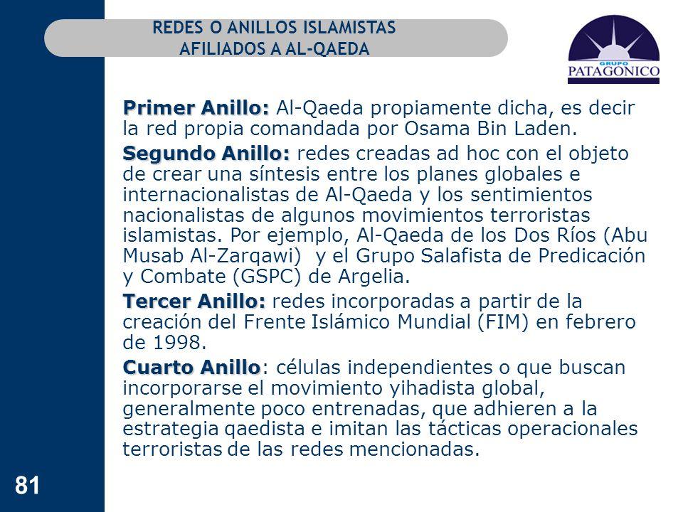 81 REDES O ANILLOS ISLAMISTAS AFILIADOS A AL-QAEDA Primer Anillo: Primer Anillo: Al-Qaeda propiamente dicha, es decir la red propia comandada por Osam