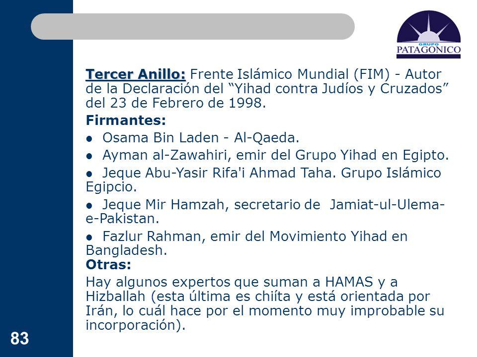 83 Tercer Anillo: Tercer Anillo: Frente Islámico Mundial (FIM) - Autor de la Declaración del Yihad contra Judíos y Cruzados del 23 de Febrero de 1998.