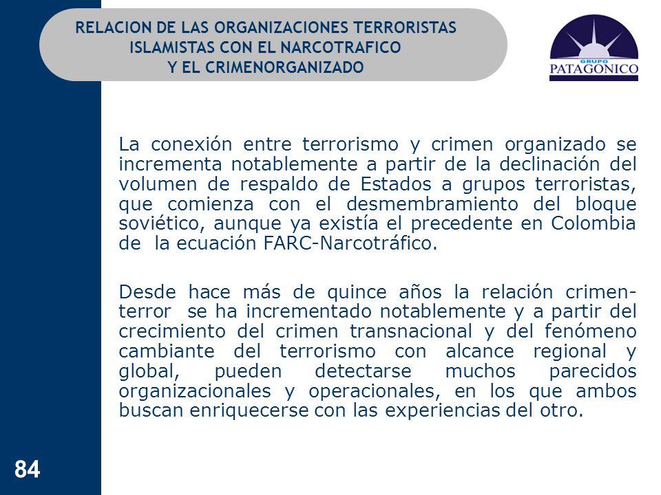 84 RELACION DE LAS ORGANIZACIONES TERRORISTAS ISLAMISTAS CON EL NARCOTRAFICO Y EL CRIMENORGANIZADO La conexión entre terrorismo y crimen organizado se