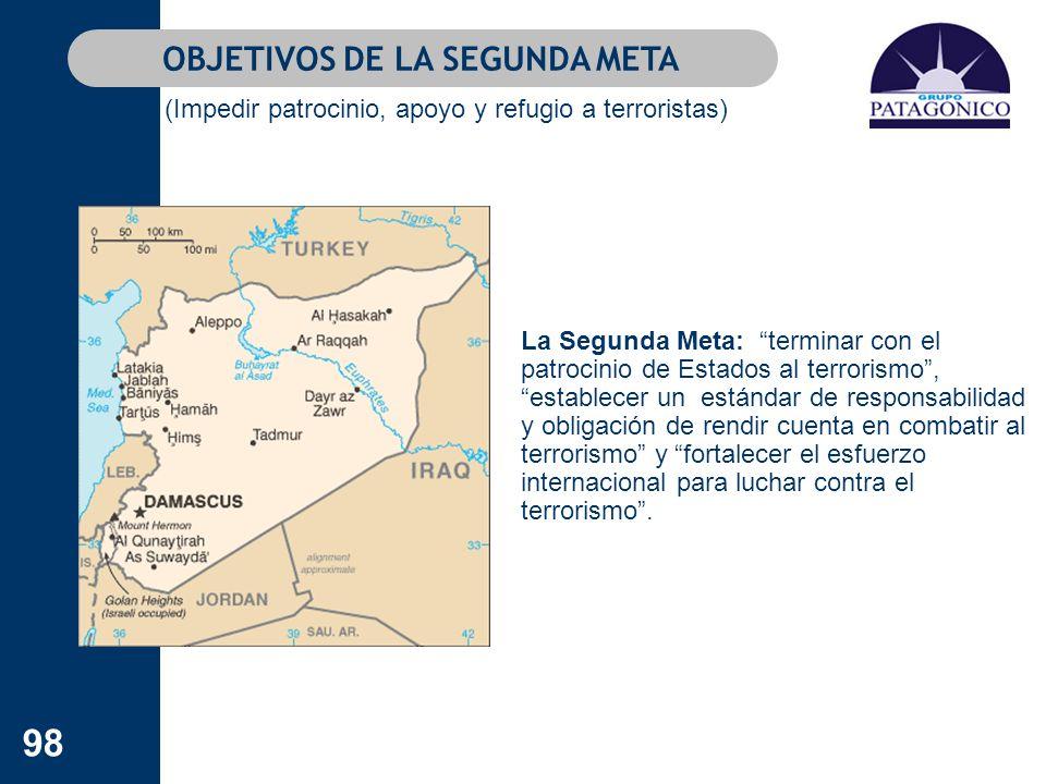 98 OBJETIVOS DE LA SEGUNDA META (Impedir patrocinio, apoyo y refugio a terroristas) La Segunda Meta: terminar con el patrocinio de Estados al terroris