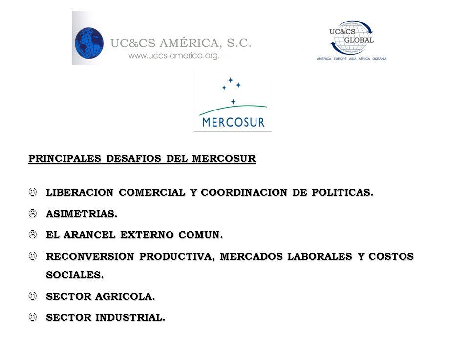 PRINCIPALES DESAFIOS DEL MERCOSUR LIBERACION COMERCIAL Y COORDINACION DE POLITICAS. LIBERACION COMERCIAL Y COORDINACION DE POLITICAS. ASIMETRIAS. ASIM