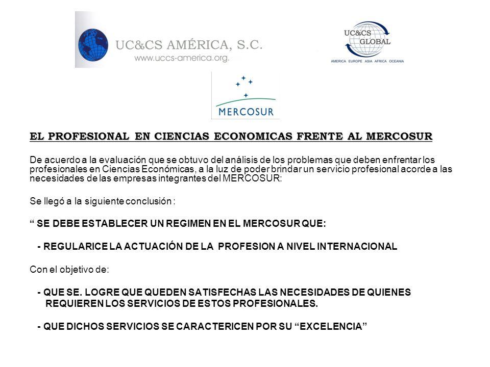 EL PROFESIONAL EN CIENCIAS ECONOMICAS FRENTE AL MERCOSUR De acuerdo a la evaluación que se obtuvo del análisis de los problemas que deben enfrentar lo