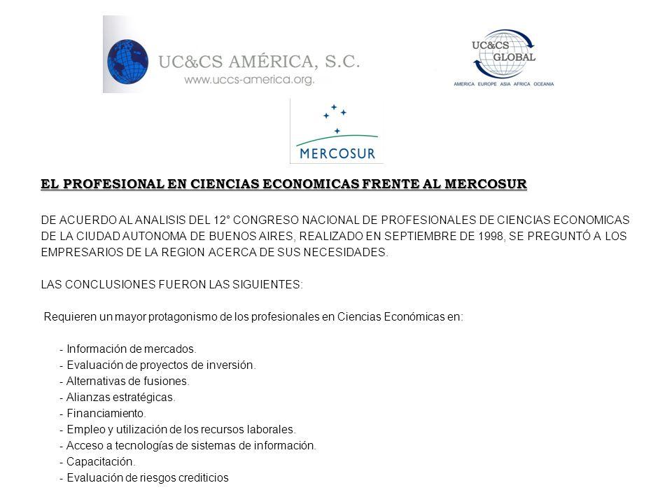 EL PROFESIONAL EN CIENCIAS ECONOMICAS FRENTE AL MERCOSUR DE ACUERDO AL ANALISIS DEL 12° CONGRESO NACIONAL DE PROFESIONALES DE CIENCIAS ECONOMICAS DE L