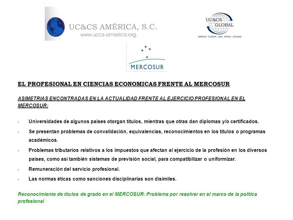 EL PROFESIONAL EN CIENCIAS ECONOMICAS FRENTE AL MERCOSUR ASIMETRIAS ENCONTRADAS EN LA ACTUALIDAD FRENTE AL EJERCICIO PROFESIONAL EN EL MERCOSUR: -Univ