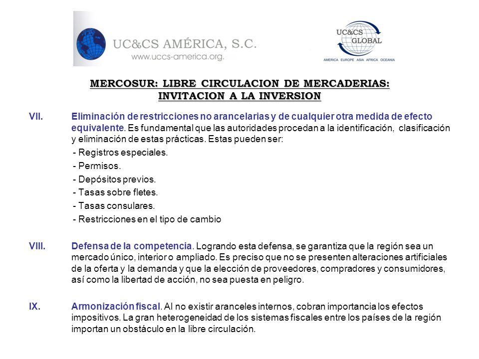 MERCOSUR: LIBRE CIRCULACION DE MERCADERIAS: INVITACION A LA INVERSION VII.Eliminación de restricciones no arancelarias y de cualquier otra medida de e