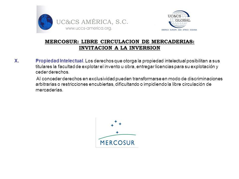 MERCOSUR: LIBRE CIRCULACION DE MERCADERIAS: INVITACION A LA INVERSION X.Propiedad Intelectual. Los derechos que otorga la propiedad intelectual posibi
