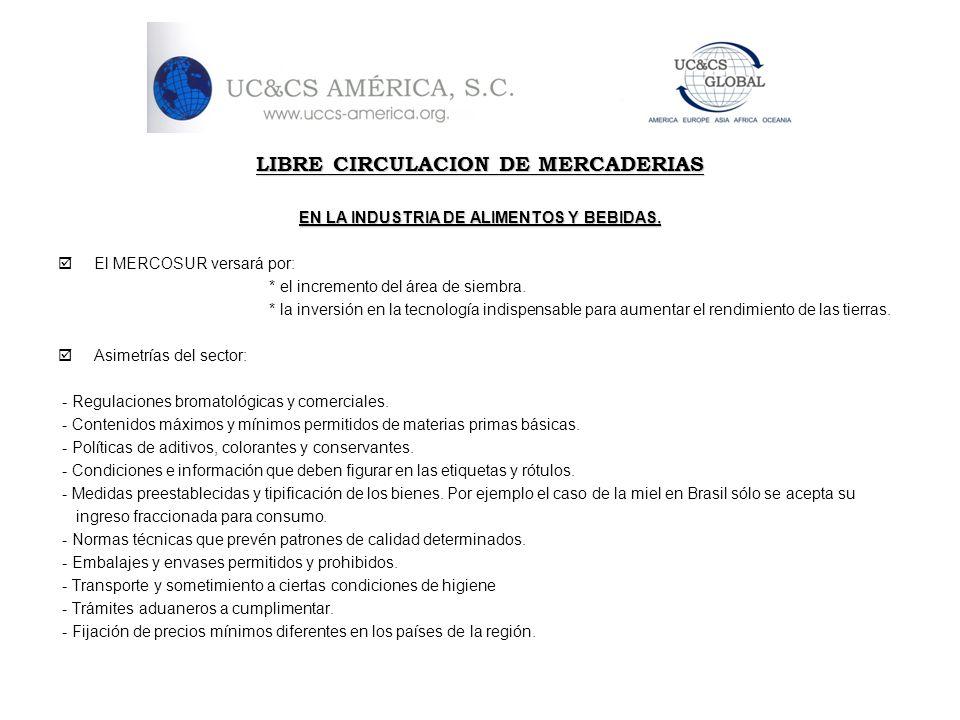LIBRE CIRCULACION DE MERCADERIAS EN LA INDUSTRIA DE ALIMENTOS Y BEBIDAS. El MERCOSUR versará por: * el incremento del área de siembra. * la inversión