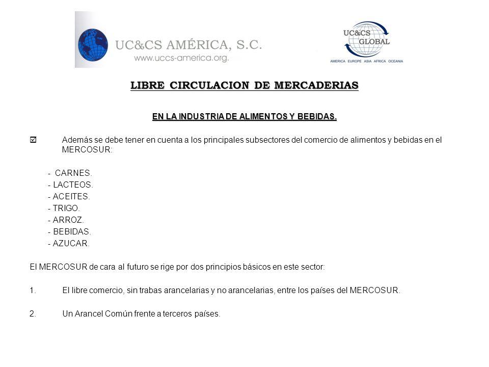 LIBRE CIRCULACION DE MERCADERIAS EN LA INDUSTRIA DE ALIMENTOS Y BEBIDAS. Además se debe tener en cuenta a los principales subsectores del comercio de