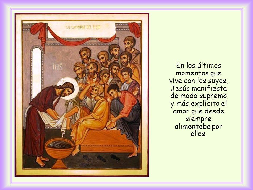 La escribe el evangelista Juan antes de que Jesús se disponga a lavarles los pies a sus discípulos y se prepare para su pasión.