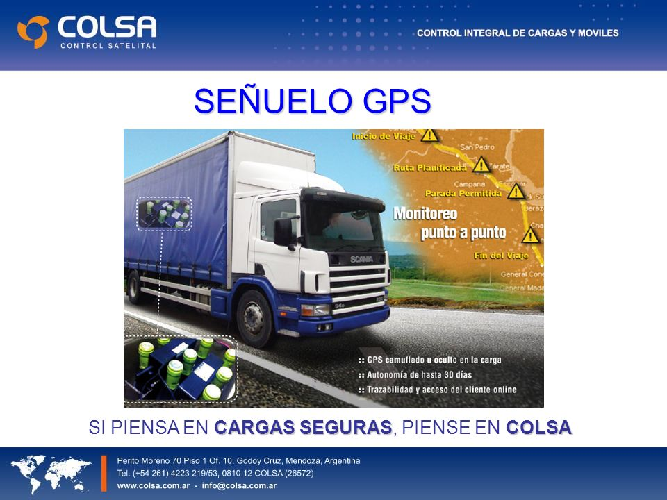 SEÑUELO GPS CARGAS SEGURASCOLSA SI PIENSA EN CARGAS SEGURAS, PIENSE EN COLSA
