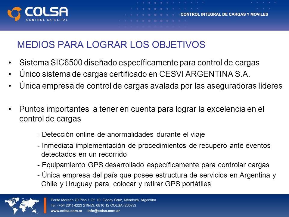 MEDIOS PARA LOGRAR LOS OBJETIVOS Sistema SIC6500 diseñado específicamente para control de cargas Único sistema de cargas certificado en CESVI ARGENTINA S.A.