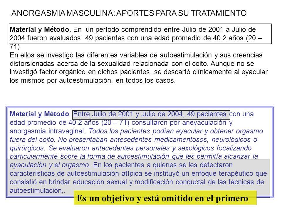 Material y Método. En un período comprendido entre Julio de 2001 a Julio de 2004 fueron evaluados 49 pacientes con una edad promedio de 40.2 años (20