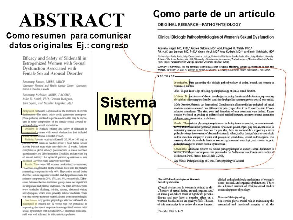 ABSTRACT Como parte de un artículo Como resumen para comunicar datos originales Ej.: congreso Sistema IMRYD