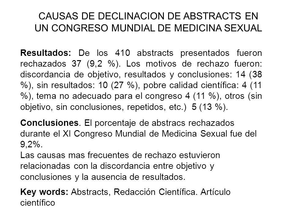 Resultados: De los 410 abstracts presentados fueron rechazados 37 (9,2 %). Los motivos de rechazo fueron: discordancia de objetivo, resultados y concl