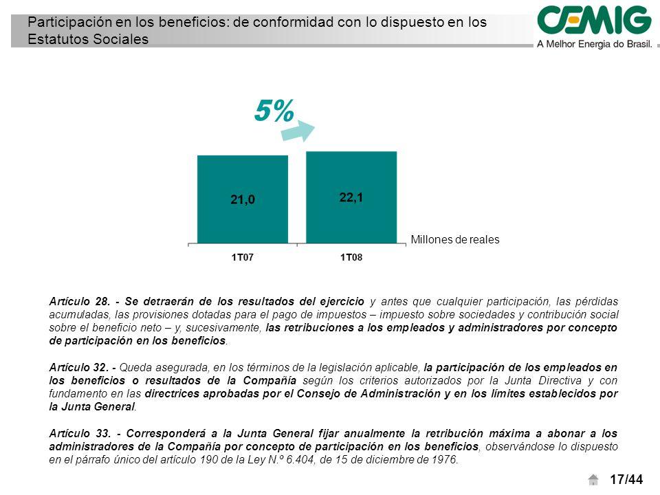 17/44 Participación en los beneficios: de conformidad con lo dispuesto en los Estatutos Sociales Artículo 28.
