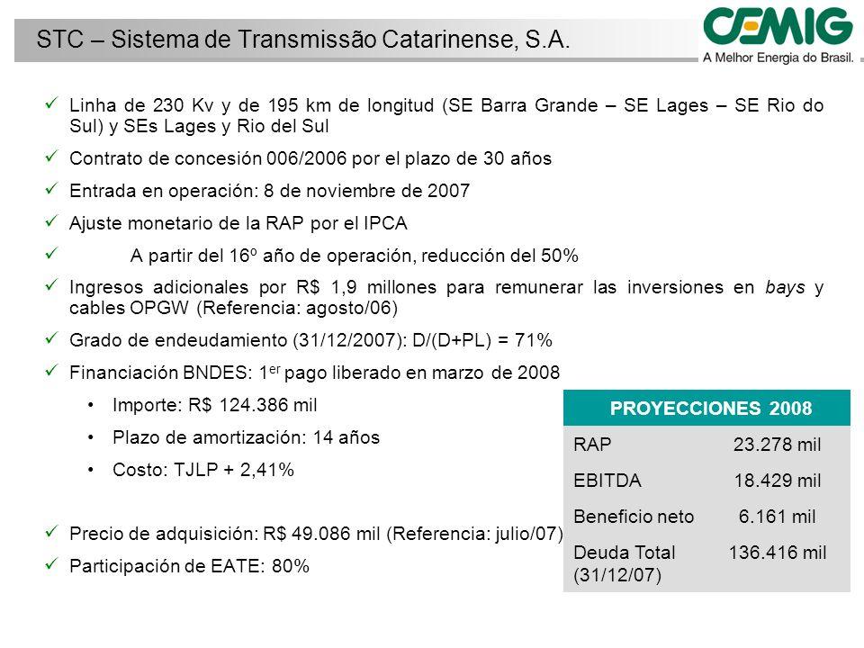 Linha de 230 Kv y de 195 km de longitud (SE Barra Grande – SE Lages – SE Rio do Sul) y SEs Lages y Rio del Sul Contrato de concesión 006/2006 por el plazo de 30 años Entrada en operación: 8 de noviembre de 2007 Ajuste monetario de la RAP por el IPCA A partir del 16º año de operación, reducción del 50% Ingresos adicionales por R$ 1,9 millones para remunerar las inversiones en bays y cables OPGW (Referencia: agosto/06) Grado de endeudamiento (31/12/2007): D/(D+PL) = 71% Financiación BNDES: 1 er pago liberado en marzo de 2008 Importe: R$ 124.386 mil Plazo de amortización: 14 años Costo: TJLP + 2,41% Precio de adquisición: R$ 49.086 mil (Referencia: julio/07) Participación de EATE: 80% STC – Sistema de Transmissão Catarinense, S.A.