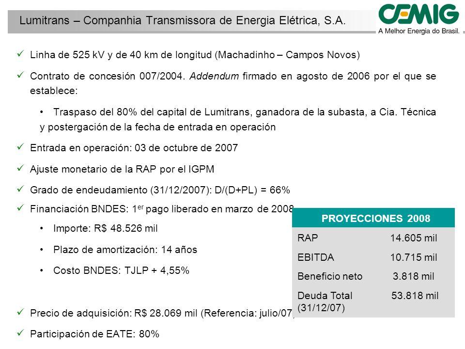 Linha de 525 kV y de 40 km de longitud (Machadinho – Campos Novos) Contrato de concesión 007/2004.