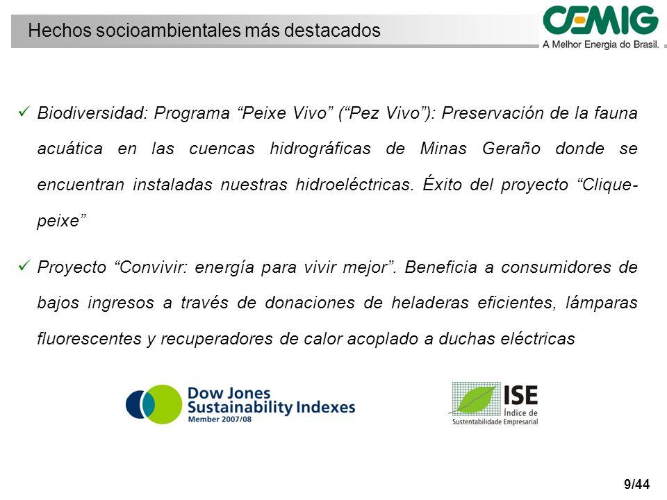 9/44 Biodiversidad: Programa Peixe Vivo (Pez Vivo): Preservación de la fauna acuática en las cuencas hidrográficas de Minas Geraño donde se encuentran instaladas nuestras hidroeléctricas.