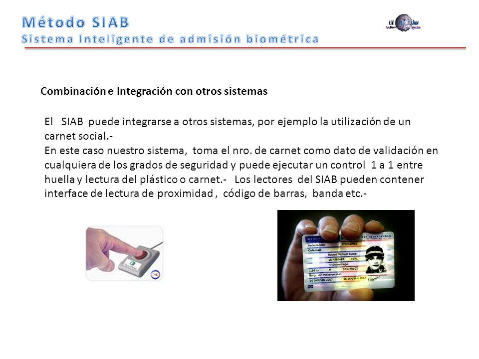 Combinación e Integración con otros sistemas El SIAB puede integrarse a otros sistemas, por ejemplo la utilización de un carnet social.- En este caso nuestro sistema, toma el nro.