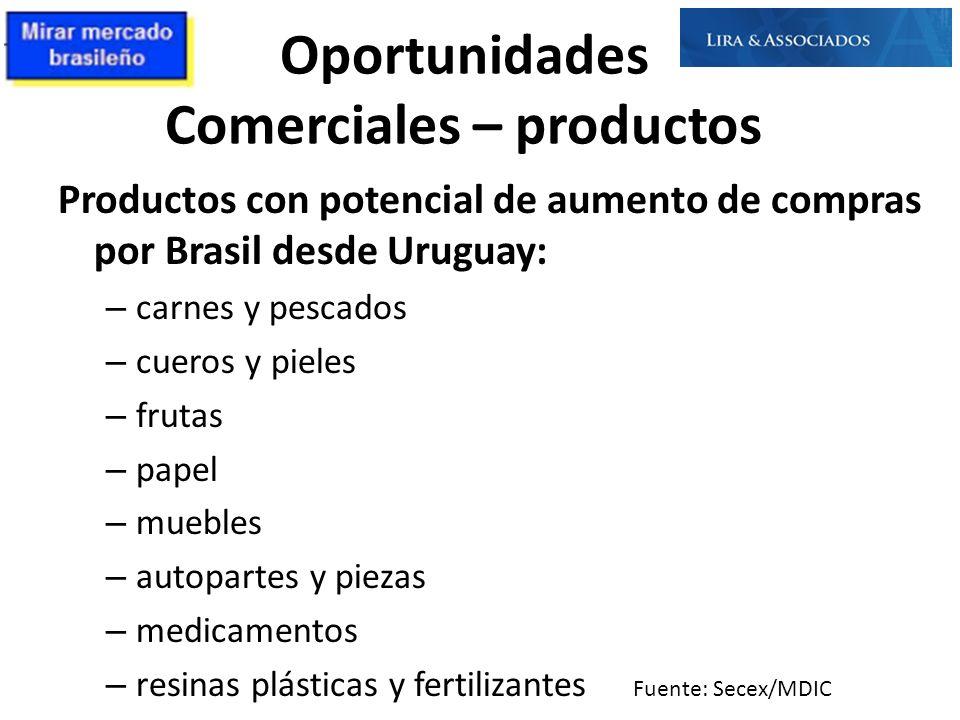 Oportunidades Comerciales – productos Productos con potencial de aumento de compras por Brasil desde Uruguay: – carnes y pescados – cueros y pieles –
