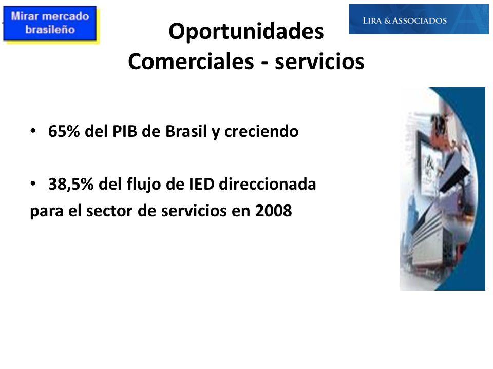 Oportunidades Comerciales - servicios 65% del PIB de Brasil y creciendo 38,5% del flujo de IED direccionada para el sector de servicios en 2008