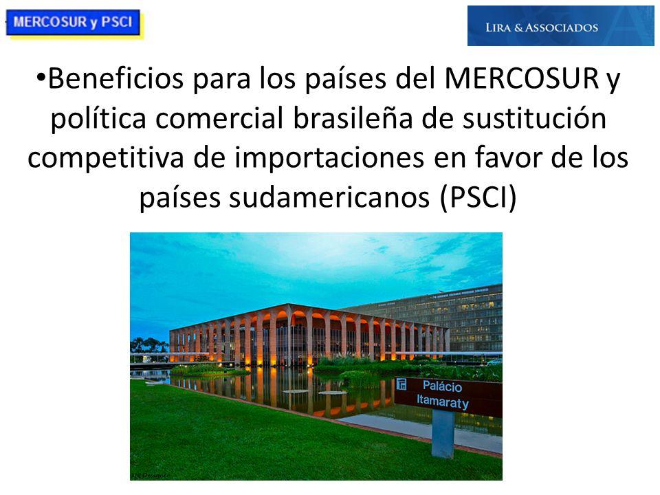 Beneficios para los países del MERCOSUR y política comercial brasileña de sustitución competitiva de importaciones en favor de los países sudamericano