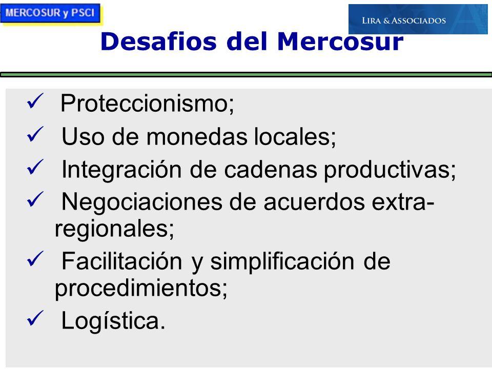 21/10/09 Desafios del Mercosur Proteccionismo; Uso de monedas locales; Integración de cadenas productivas; Negociaciones de acuerdos extra- regionales