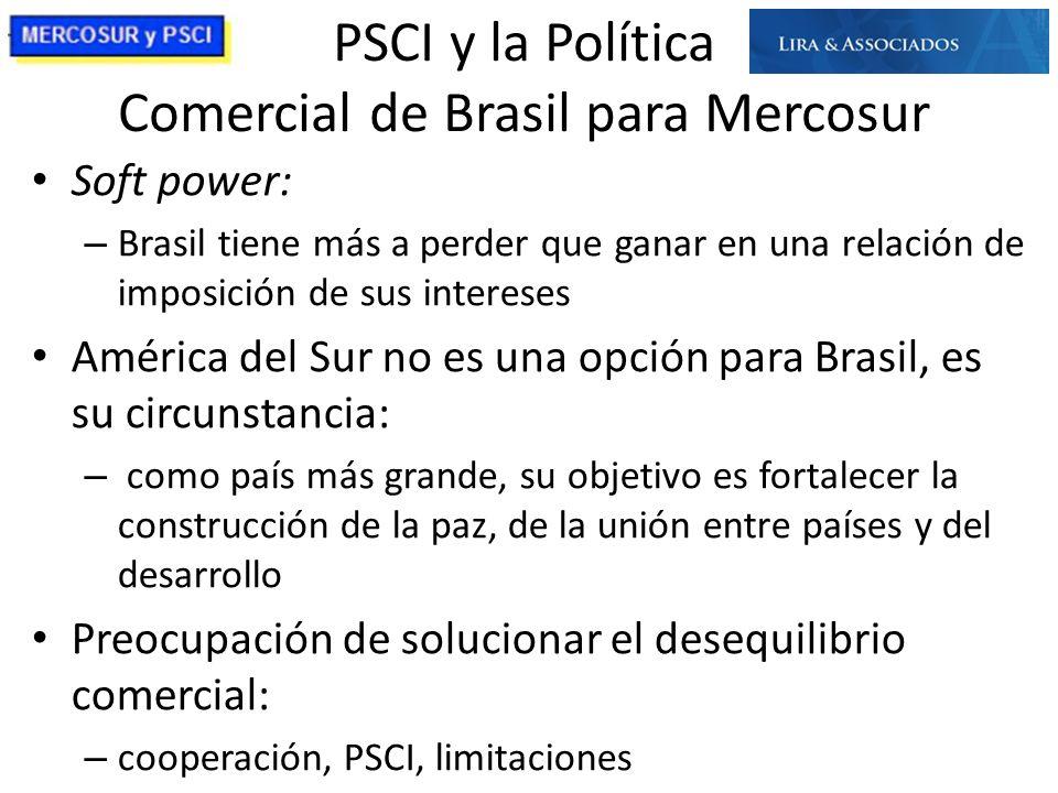 PSCI y la Política Comercial de Brasil para Mercosur Soft power: – Brasil tiene más a perder que ganar en una relación de imposición de sus intereses