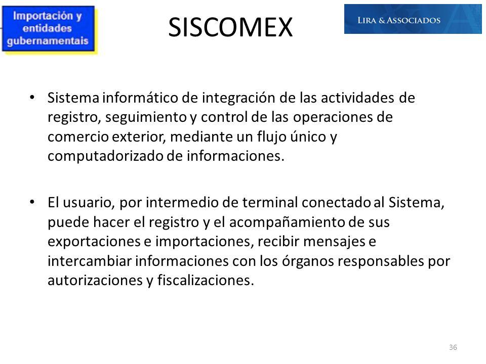 SISCOMEX Sistema informático de integración de las actividades de registro, seguimiento y control de las operaciones de comercio exterior, mediante un