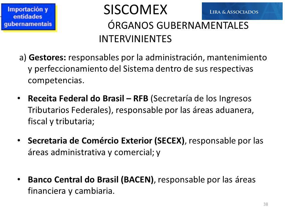 SISCOMEX ÓRGANOS GUBERNAMENTALES INTERVINIENTES a) Gestores: responsables por la administración, mantenimiento y perfeccionamiento del Sistema dentro