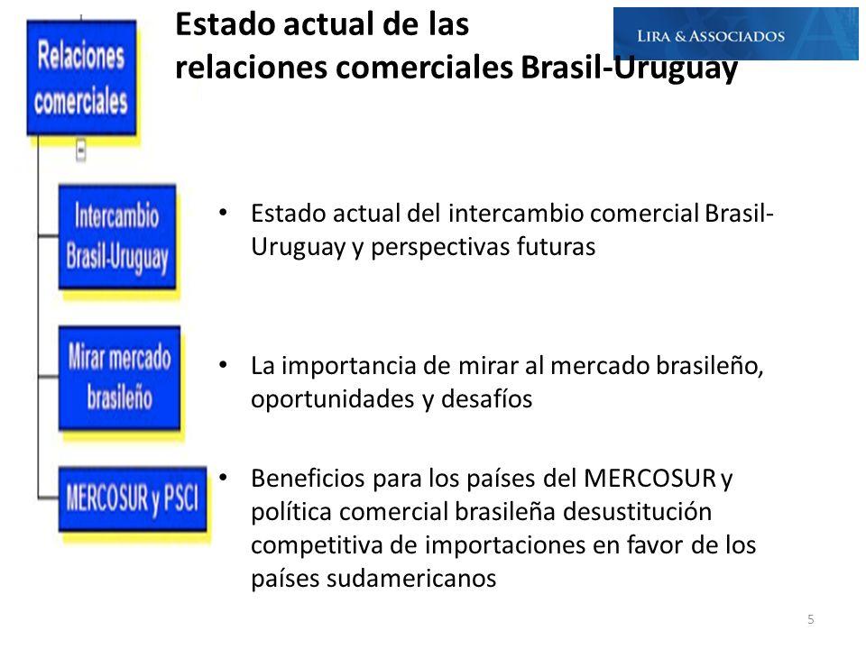 Estado actual del intercambio comercial Brasil- Uruguay y perspectivas futuras La importancia de mirar al mercado brasileño, oportunidades y desafíos