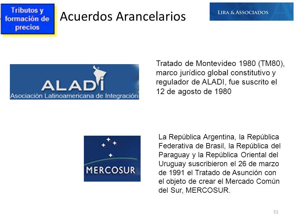 Acuerdos Arancelarios 51 Tratado de Montevideo 1980 (TM80), marco jurídico global constitutivo y regulador de ALADI, fue suscrito el 12 de agosto de 1