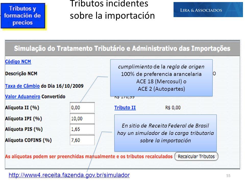 Tributos incidentes sobre la importación http://www4.receita.fazenda.gov.br/simulador 55 cumplimiento de la regla de origen 100% de preferencia arance
