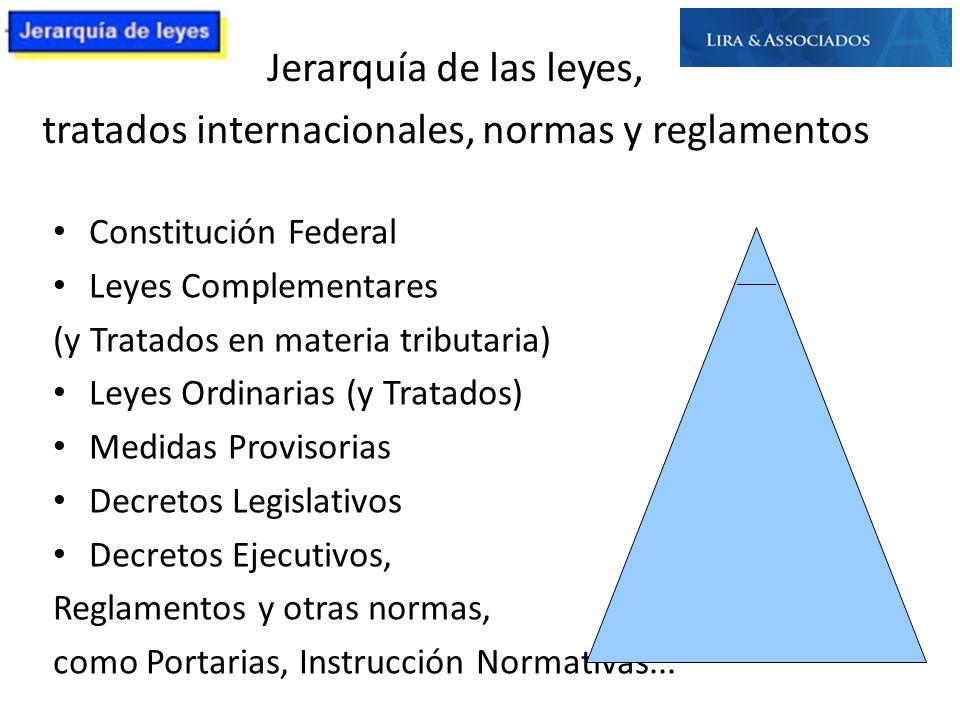 Constitución Federal Leyes Complementares (y Tratados en materia tributaria) Leyes Ordinarias (y Tratados) Medidas Provisorias Decretos Legislativos D